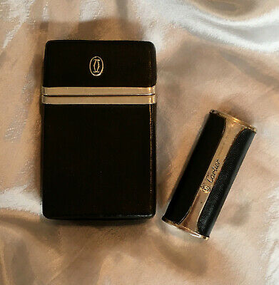 Vintage Authentic CARTIER Leather Cigarette Case and Lighter Case