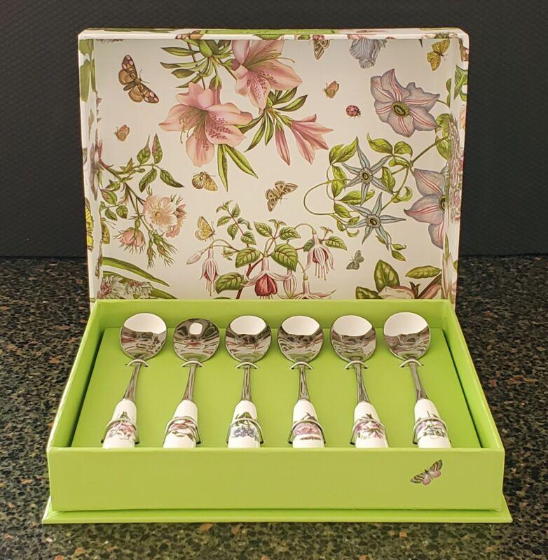 PORTMEIRION BOTANIC GARDEN SET OF 6 TEA SPOONS - SPRING FLOWERS - NEW IN BOX