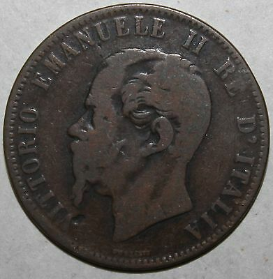 Italian 10 Centesimi Coin, 1866 .OM - KM# 11.5 - Italy Vittorio Emanuele II Ten