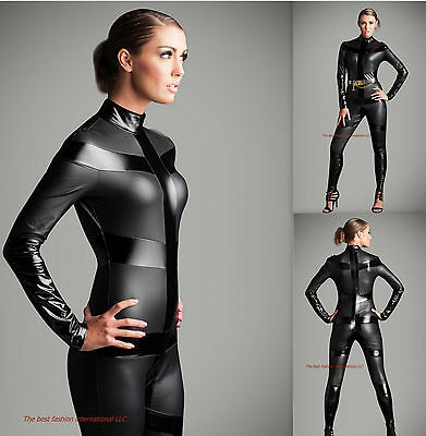 Metallic Costume (Gothic Black Metallic  Catsuit & Body suit Jumpsuit  Halloween Costume Zipper )