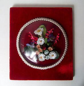 Cadre-verre-bombe-fleurs-tissu-velours-Vintage-22x19-cm
