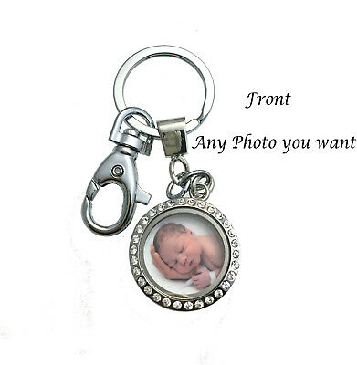 Personalized Floating Memory Locket, Custom Double Sided Photo Key Chain Pendant](Personalized Keys)