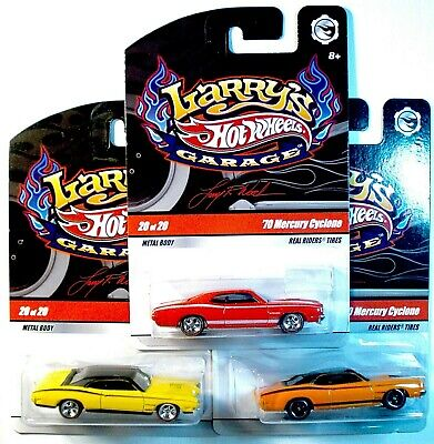 3 HOT WHEELS LARRY'S GARAGE '70 MERCURY CYCLONE, 3 COLORS, 3 INITIALS, ALL CHASE