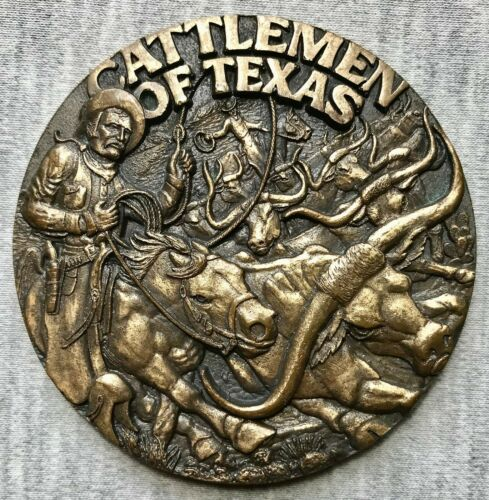 "Cattlemen of Texas - Legend of Cowboys - Longhorns - 2 3/4"" Bronze Medal"