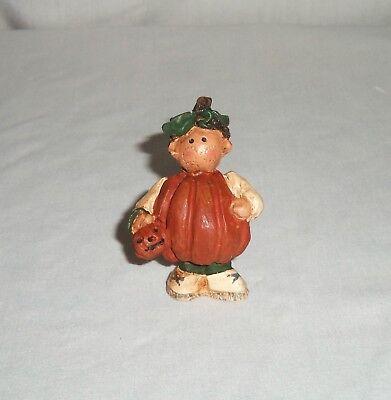 Miniature Country Boy in Pumpkin Halloween Costume Resin Figurine Jack-O-Lantern - Country Boy Halloween Costume