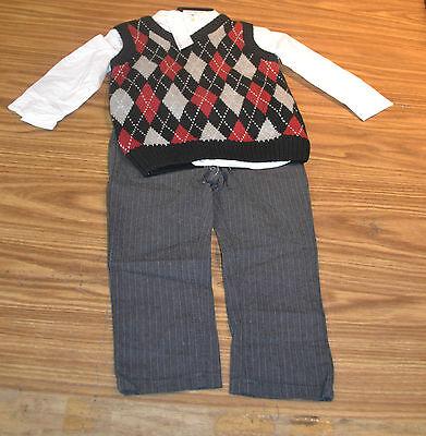 Calvin Klein Jeans Boys' 3 Piece Outfit/Set-ARGYLE VEST-3T-NWT 3 Piece Argyle Vest