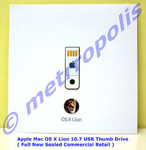 Apple Mac OS X Lion 10.7 USB Thumb Drive ( Genuine New Sealed Retail ) MD256Z/A