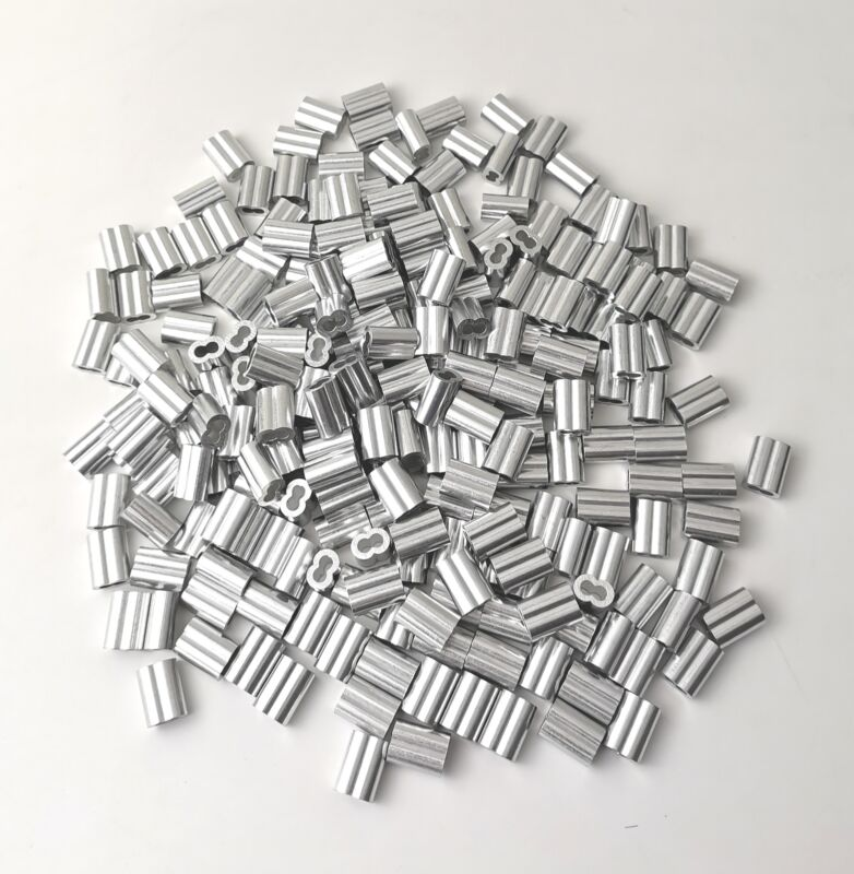 """50 100 200 500 1000 Pcs Aluminum Swage Sleeves Crimps for 1/8"""" Wire Rope Cable"""