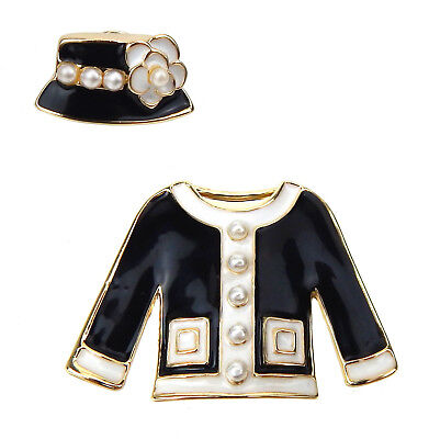 Ella Jonte Brosche schwarz gold weiß Kostüm Jacke - Kostüm Broschen