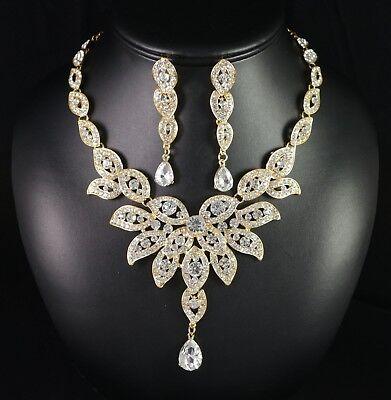 (Floral Austrian Rhinestone Crystal Bib Necklace Earrings Set Wedding Prom N21g)