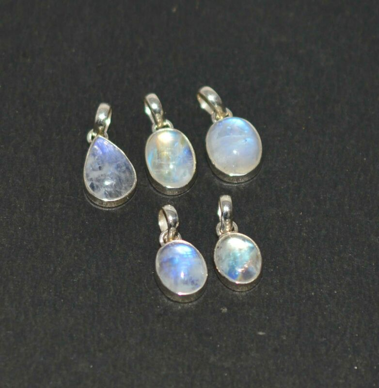 WHOLESALE 5PC 925 SOLID STERLING SILVER WHITE RAINBOW MOONSTONE PENDANT LOT F661