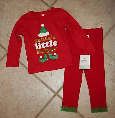 NWT Carters Bonnie Baby Girls 18 Mos Santa's Little Helper Christmas Top Outfit ()
