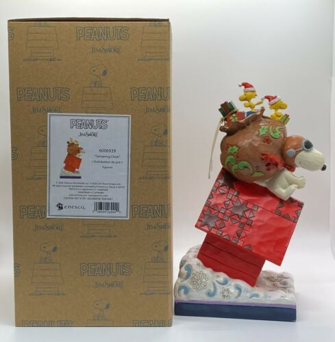 """Snoopy & Woodstocks """"DELIVERING CHEERS"""" Figure Jim Shore PEANUTS Christmas Gifts"""