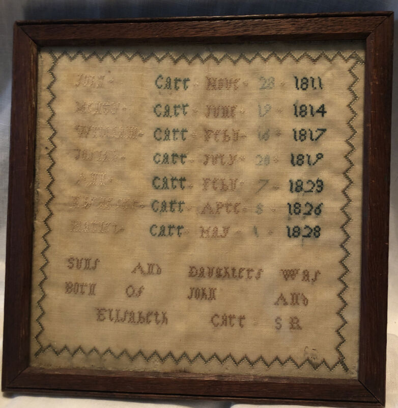 "1828 English Schoolgirl Sampler Carr Family Register 19x10"" Unique Embroidery"
