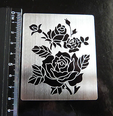 Stainless/Steel/Metal/stencil/Oblong/Ornate/Rose/Floral/Emboss/NEW