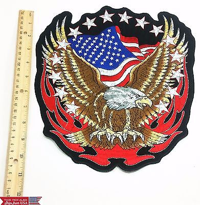 Eagle Flag Embroidery (11'' inches Large Embroidery Patches Eagle Flag USA Big Size  Iron on)