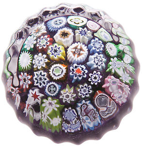 New-boxed-CAITHNESS-GLASS-Millefiori-Purple-Close-Pack-paperweight-U14080