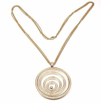 Authentic! Chopard Happy Spirit 18K Yellow Gold Diamond Pendant Necklace