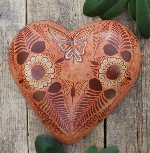 Canelo / Cinnamon Pottery Heart Pablo Pajarito Handmade Tonala Mexican Folk Art