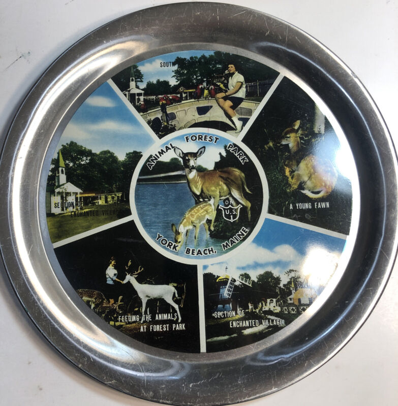 Vintage Animal Forest Park York Beach Maine Souvenir Collector Plate