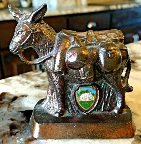 Vintage Missouri Ozarks Souvenir Figurine Copper Donkey Western Pack Mule