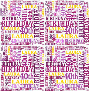 Personalised Wrapping Paper Birthday 18th 21st 40th Any age Word Art 2016