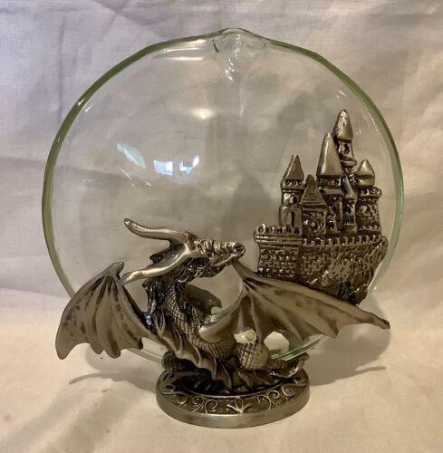 Circular Glass Bud Vase With Dragon and Castle Metal Base