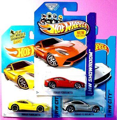 3 HOT WHEELS FERRARI F12 BERLINETTAS 1 2013 NEW MODEL, BOTH 2014 HW CITY CARS