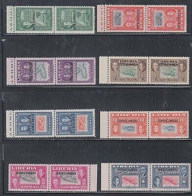 Liberia # 332-37 C68-69 SPECIMEN Overprint Pairs MNH Complete 1952 Ashmun Map