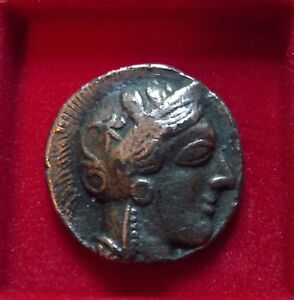 ATHENS TETRADRACHM silver plate modern restrike Athena owl