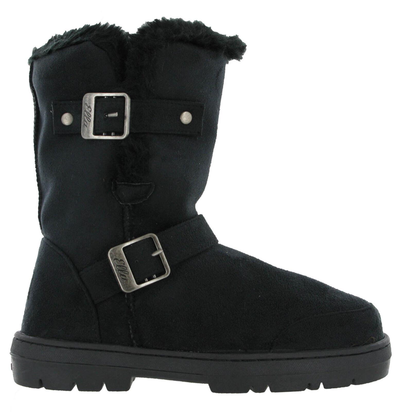 190bea5e989e Ella Fur Lined Alex Twin Buckle Snugg Warm Flat Womens Winter Boots UK 3 - 8