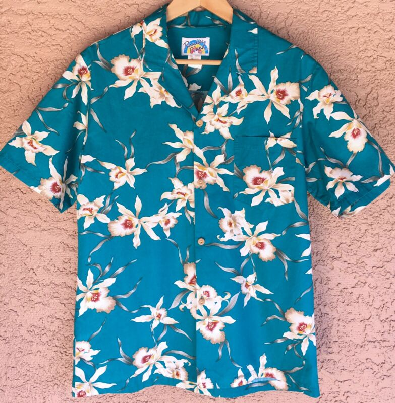 Paradise Found Vintage Hawaiian Camp Button Aloha Shirt Size M Turquoise Floral