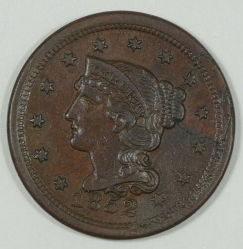 1852 Braided Hair Large Cent ALMOST UNC 1c ~ Retained Lamination