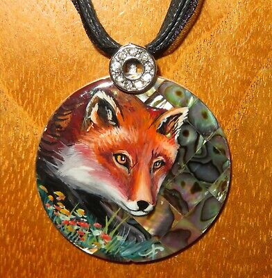 Pendant GINGER FOX in winter forest Genuine hand painted ABALON SHELL signed
