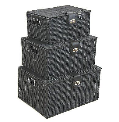 Storage Basket Hamper Black Resin Woven Set of 3 Box With Lid & Lock