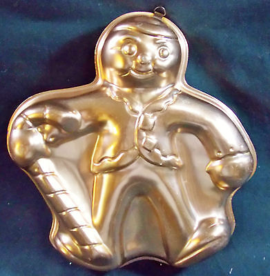 Vintage Gingerbread Man w/Candy Cane Cake Pan Jello Mold Copper Color home Decor