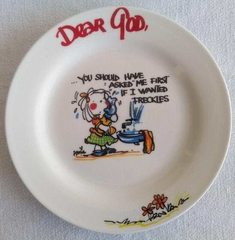 "Vtg Royal Norfolk ""Dear God"" Freckles Plate Decorative Collectible *Never Used"