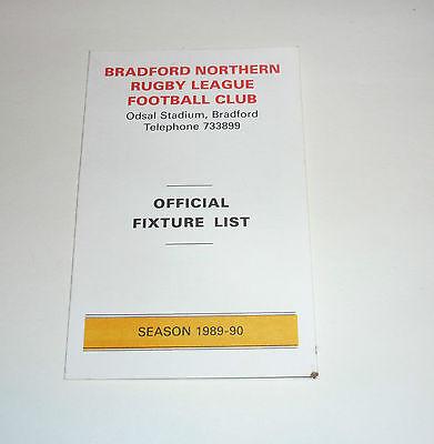 BRADFORD BULLS OFFICIAL FIXTURE LIST 1989 - 90