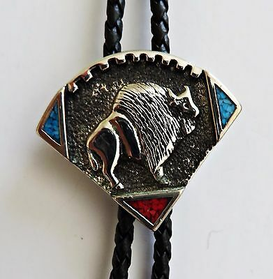 Bolo Tie Sarah Chee Novajo Buffalo Bison Coral Turquoise Silver Leather Western
