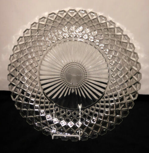 "Anchor Hocking WATERFORD/WAFFLE CRYSTAL *13 3/4"" SANDWICH PLATE #2"