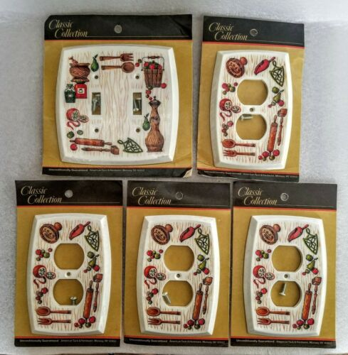 Vtg American Tack & Hardware Kitchen Outlet Plates Double Light Switch Lot NEW
