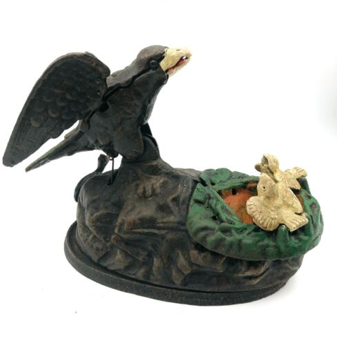 Vintage  Type Cast Iron Eagle with Eaglets Bank