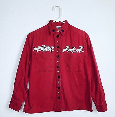 Vintage Disney Store 101 Dalmatians Womens Long Sleeve Shirt Small Embroidered