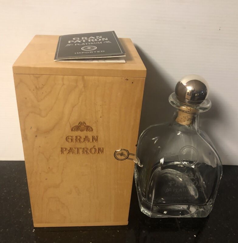 Gran Patron Platinum Empty Bottle And Wooden Box Limited Number & Sign