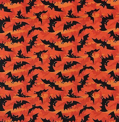 Clothworks Halloween Fabric (By 1/2 Yard ~ Clothworks Haunted Hill Spooky Bats in Orange ~ Halloween)