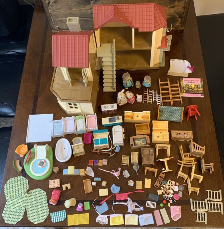 Calico Critters Red Roof Country Home Furniture Bunnies Sylvanian Families Epoch