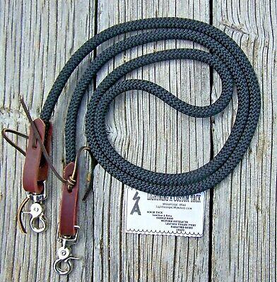 6-9' Reins Loop Yacht Rope Roping Rein Pony Single Barrel Contest Trail DB black