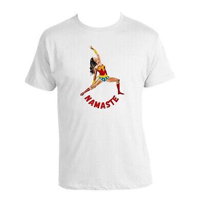 Namaste Yoga  T-shirt Wonder Woman 100% Baumwolle Yoga T-shirt Weiss Neu Love