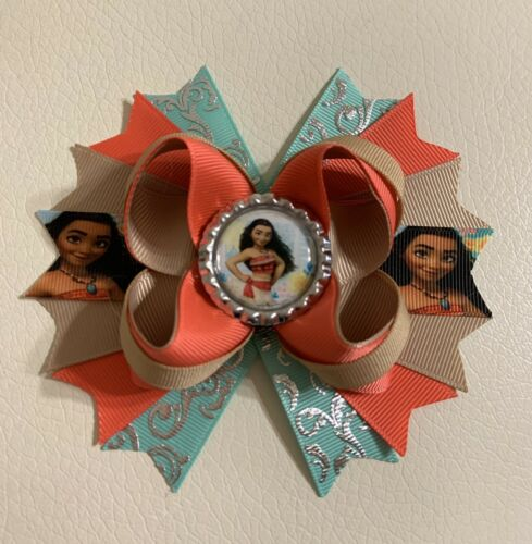 "Moana Stacked Boutique Hair Bow Clip Handmade 4.5"" Baby /Tod"