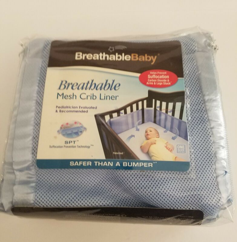 BreathableBaby Classic Breathable Mesh Crib Liner Light Blue